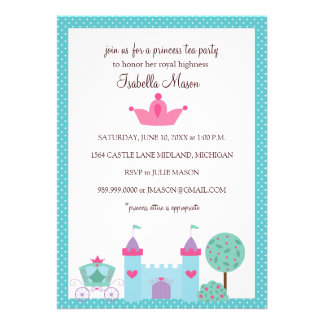 Invitaciones de la princesa fiesta del té invitaciones personales