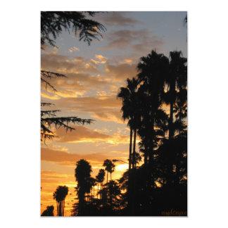 """Invitaciones de la puesta del sol de la palmera de invitación 5"""" x 7"""""""