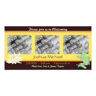 Invitaciones de la rana del oro y del nacimiento tarjetas fotográficas personalizadas