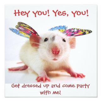 """Invitaciones de la rata del fiesta invitación 5.25"""" x 5.25"""""""