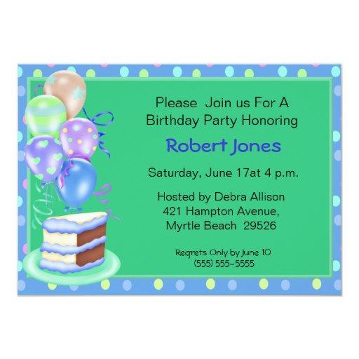Invitaciones de la torta de cumpleaños invitación 12,7 x 17,8 cm