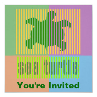 Invitaciones de la tortuga de la clave de barras comunicado personalizado