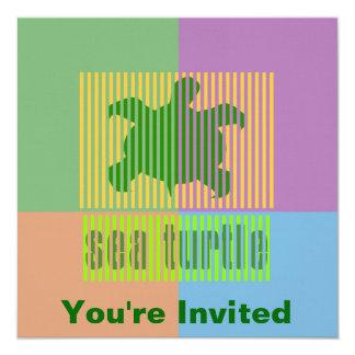 Invitaciones de la tortuga de la clave de barras invitacion personalizada