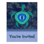 Invitaciones de la tortuga del ojo azul anuncio personalizado