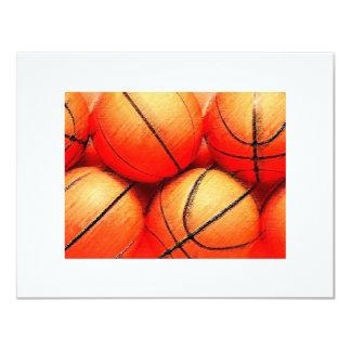 Invitaciones de las bolas del baloncesto invitaciones personalizada