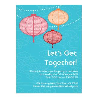 Invitaciones de las linternas de papel de la invitación 16,5 x 22,2 cm
