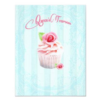 Invitaciones de las magdalenas del rosa de té invitación 10,8 x 13,9 cm