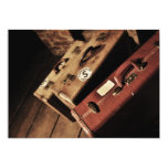 Invitaciones de las maletas del viaje del vintage invitación 12,7 x 17,8 cm