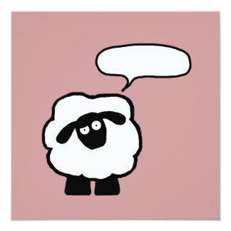 """Invitaciones de las ovejas de la burbuja del texto invitación 5.25"""" x 5.25"""""""