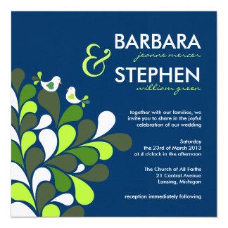 Invitaciones de lino azules del boda del zafiro de invitación 13,3 cm x 13,3cm