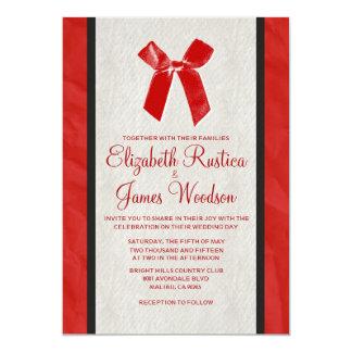 """Invitaciones de lino del boda del arco rojo y invitación 5"""" x 7"""""""