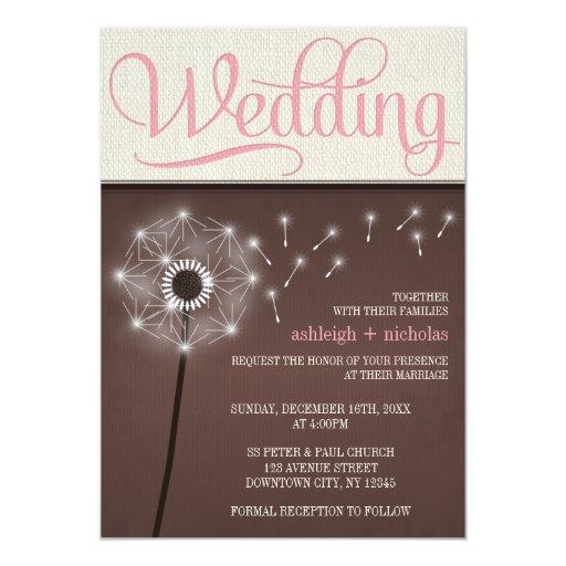 Invitaciones de lino rústicas del boda del diente anuncios personalizados