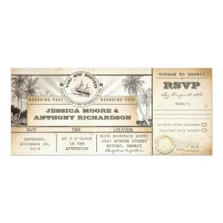invitaciones de los boletos del boda del documento invitación 10,1 x 23,5 cm