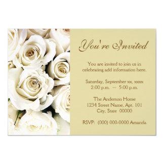 """Invitaciones de los rosas blancos invitación 4.5"""" x 6.25"""""""