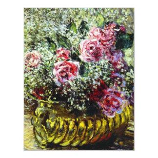 Invitaciones de los rosas de Monet Invitación 10,8 X 13,9 Cm