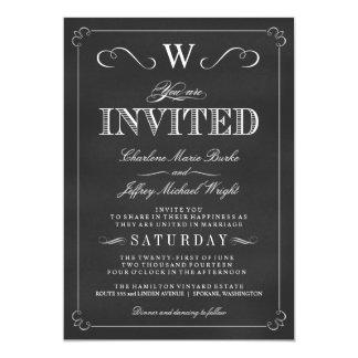 """Invitaciones de lujo del boda del monograma de la invitación 5"""" x 7"""""""