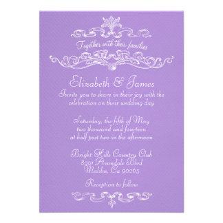 Invitaciones de lujo simples del boda de la lavand