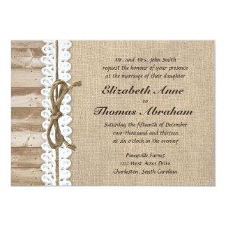 Invitaciones de madera del boda de la guita del comunicado personalizado