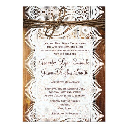 Invitaciones de madera del boda de la guita del comunicados personales