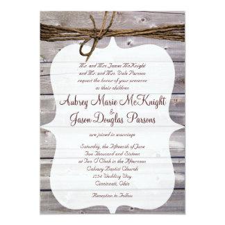 """Invitaciones de madera del boda de la guita del invitación 5"""" x 7"""""""