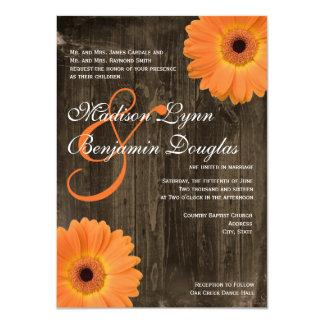 Invitaciones de madera del boda de la margarita invitaciones personales