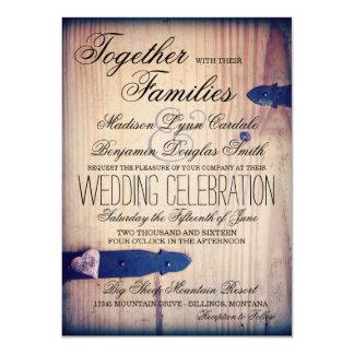 """Invitaciones de madera del boda del cierre del invitación 4.5"""" x 6.25"""""""