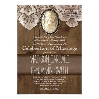 Invitaciones de madera del boda del cordón de la comunicados