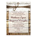 Invitaciones de madera del boda del cordón del comunicado personal