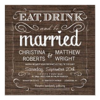 Invitaciones de madera del boda del granero invitación 13,3 cm x 13,3cm