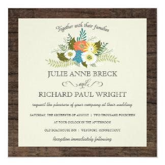 Invitaciones de madera del boda del granero floral invitaciones personalizada