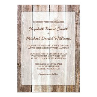 """Invitaciones de madera del boda del granero invitación 5"""" x 7"""""""