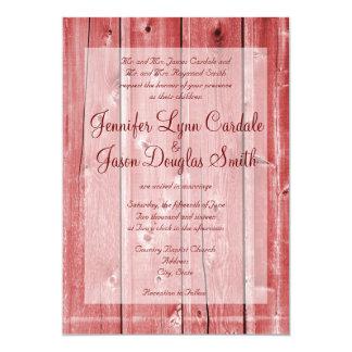 """Invitaciones de madera del boda del granero rojo invitación 5"""" x 7"""""""