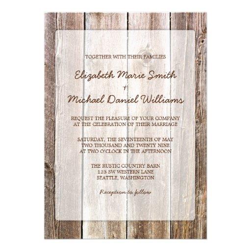 Invitaciones de madera del boda del granero rústic comunicado