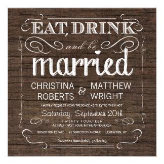 Invitaciones de madera del boda del granero rústic invitación