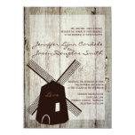 Invitaciones de madera del boda del molino de anuncio personalizado
