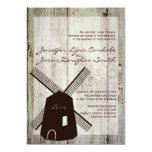 Invitaciones de madera del boda del molino de invitaciones personalizada