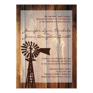 """Invitaciones de madera del boda del molino de invitación 4.5"""" x 6.25"""""""