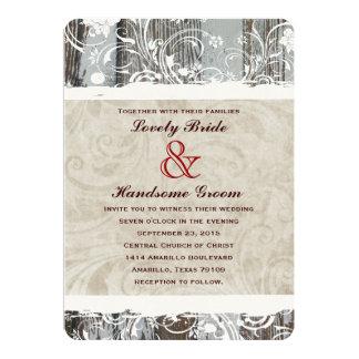 Invitaciones de madera del boda del pergamino de invitación 12,7 x 17,8 cm