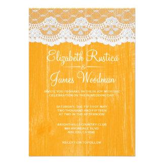 Invitaciones de madera rústicas anaranjadas del bo