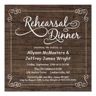 Invitaciones de madera rústicas de la cena del ens invitaciones personales