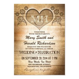 invitaciones de madera rústicas del boda del país invitación 12,7 x 17,8 cm