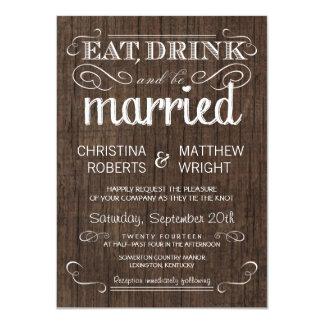 Invitaciones de madera rústicas del boda del país invitación 11,4 x 15,8 cm