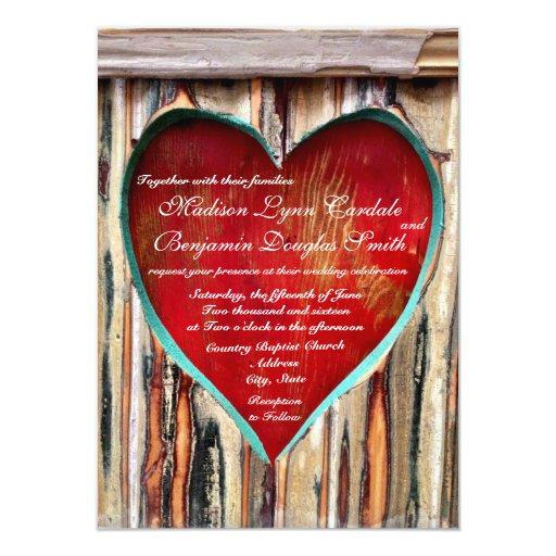 """Invitaciones de madera rústicas del boda del país invitación 4.5"""" x 6.25"""""""
