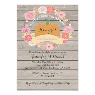 """Invitaciones de madera rústicas florales rosadas invitación 5"""" x 7"""""""