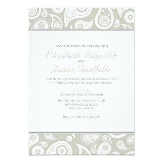 """Invitaciones de marfil del boda de Paisley Invitación 5"""" X 7"""""""
