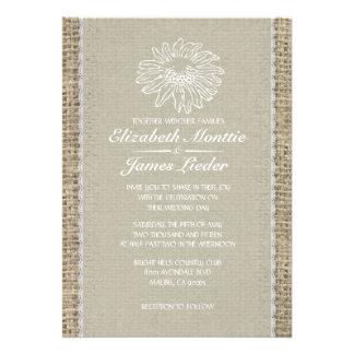 Invitaciones de marfil del boda del cordón del vin