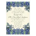 Invitaciones de marfil del boda del pavo real azul