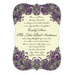 Invitaciones de marfil del boda del pavo real púrp