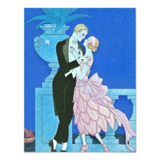 Invitaciones de medianoche del art déco del beso invitación 10,8 x 13,9 cm