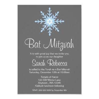 """Invitaciones de Mitzvah del palo del copo de nieve Invitación 5"""" X 7"""""""
